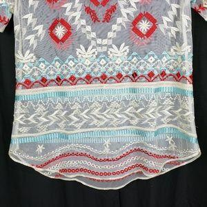 Sundance Tops - Sundance Catalog Embroidered Sheer Top
